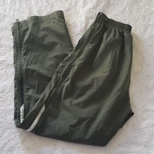 Nike 100% nylon green pants zip sides M